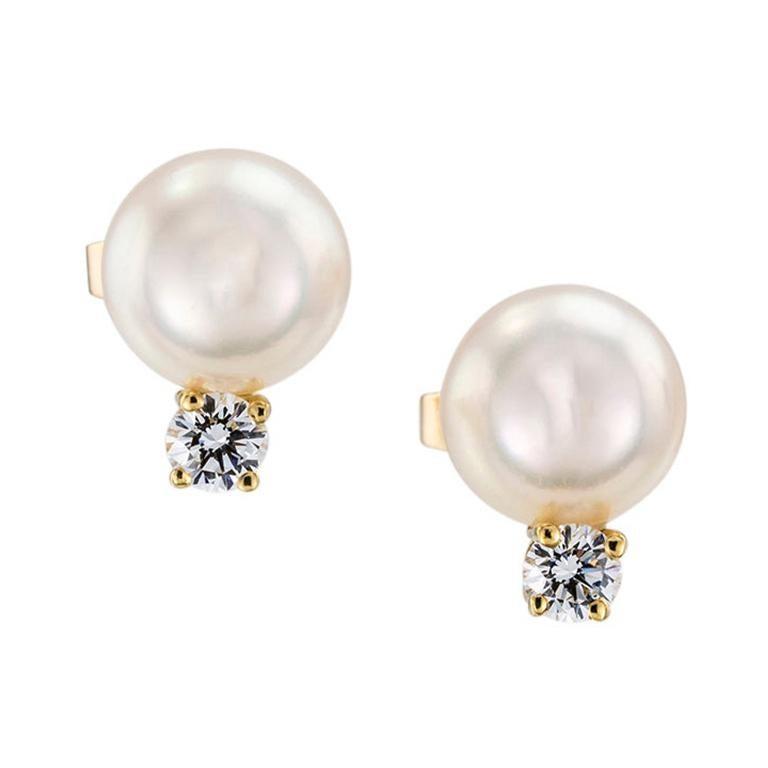 Mikimoto Akoya Cultured Pearl Diamond Yellow Gold Stud Earrings For Sale