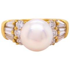 Mikimoto Akoya Pearl and Diamond Ring 18 Karat Yellow Gold