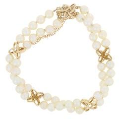 Mikimoto Akoya Pearl Bracelet, 14 Karat Yellow Gold Double Strand