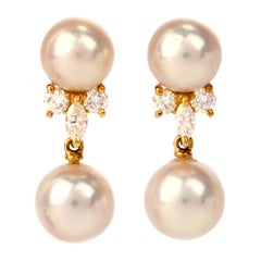 Mikimoto Akoya Pearl Diamond Gold Drop Earrings
