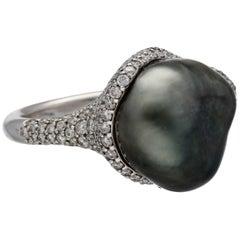 Mikimoto Baroque Black South Sea Cultured Keshi Pearl Diamonds Gold Ring