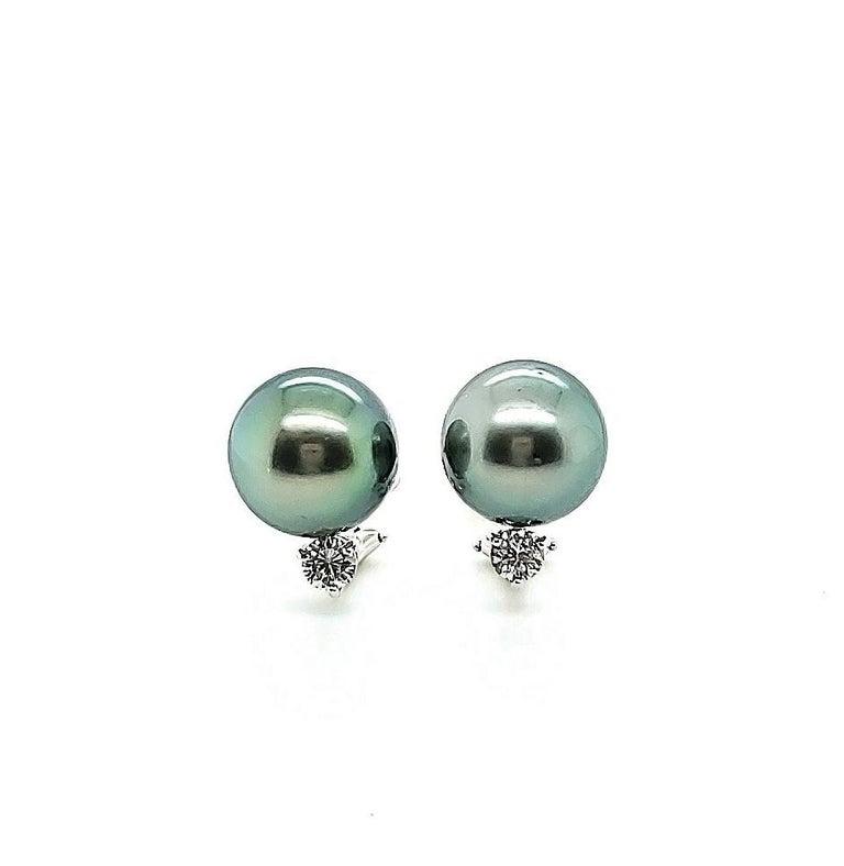Round Cut Mikimoto Black Pearl Diamond Earrings For Sale