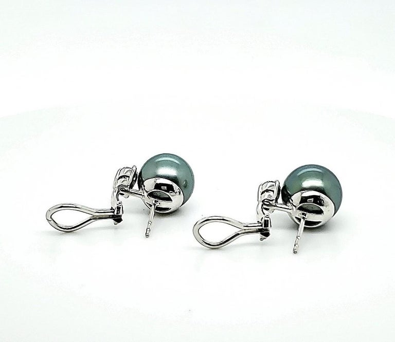 Women's Mikimoto Black Pearl Diamond Earrings For Sale