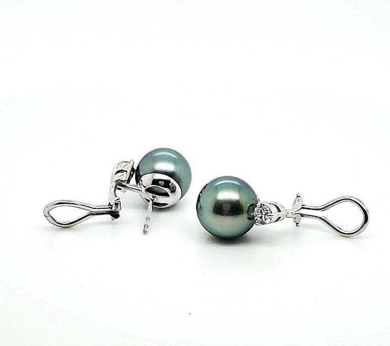 Mikimoto Black Pearl Diamond Earrings For Sale 1