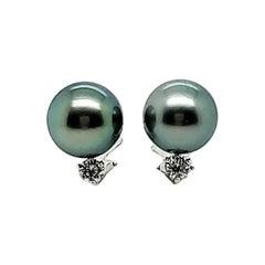 Mikimoto Black Pearl Diamond Earrings