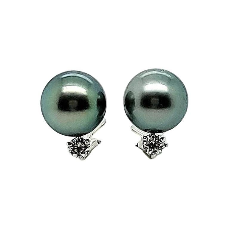 Mikimoto Black Pearl Diamond Earrings For Sale