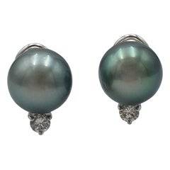 Mikimoto Black Pearl Diamond Earrings