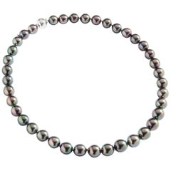 Mikimoto Black Pearl Diamond White Gold 18 Karat Necklace