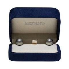 Mikimoto Black South Sea 18 Karat Yellow Gold Post Pearl Earrings