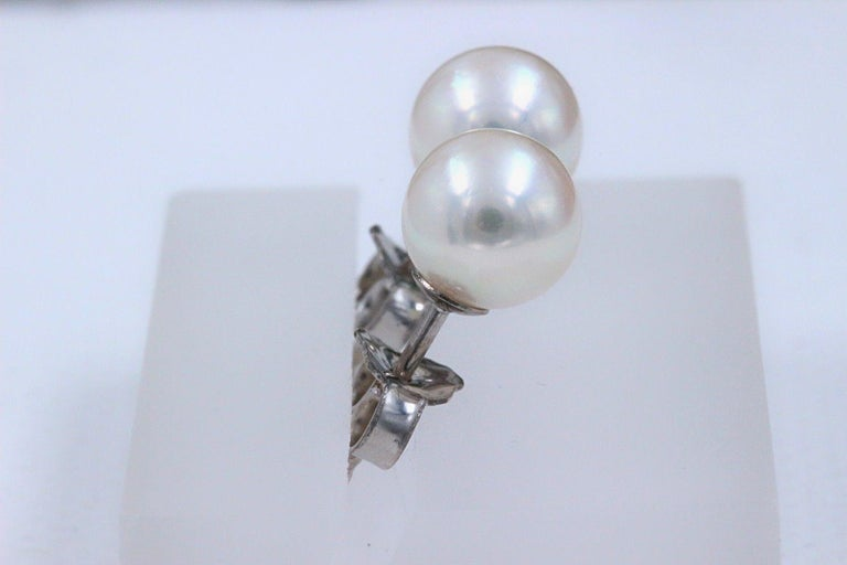 Mikimoto Cultured Akoya Pearl Stud Earrings 18 Karat White Gold In Excellent Condition For Sale In San Diego, CA