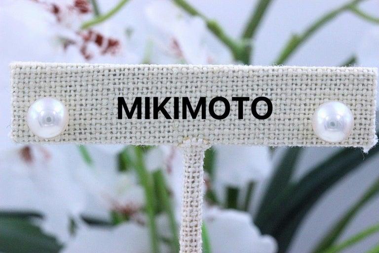 Mikimoto Cultured Akoya Pearl Stud Earrings 18 Karat White Gold For Sale 2