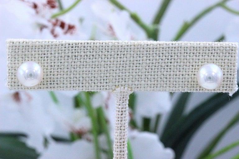 Mikimoto Cultured Akoya Pearl Stud Earrings 18 Karat White Gold For Sale 4