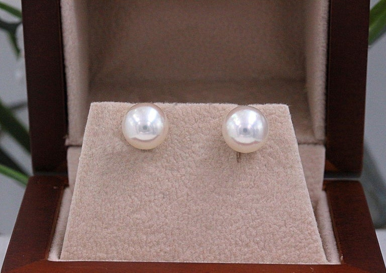 c03628976 Mikimoto Cultured Akoya Pearl Stud Earrings 18 Karat White Gold For Sale 5