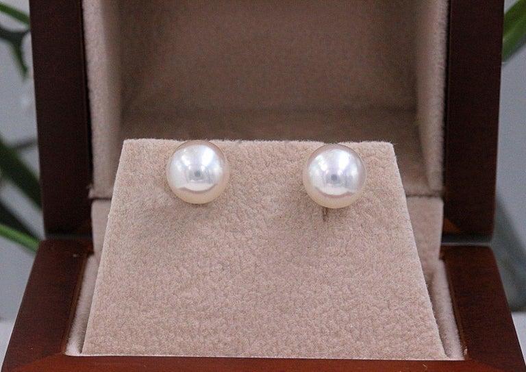 Mikimoto Cultured Akoya Pearl Stud Earrings 18 Karat White Gold For Sale 5