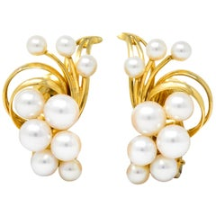 Mikimoto Cultured Pearl 18 Karat Gold Ear-Clip Earrings