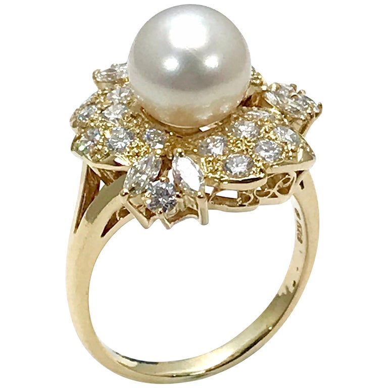 Mikimoto Cultured Pearl and Diamond Yellow Gold Fashion Ring For Sale