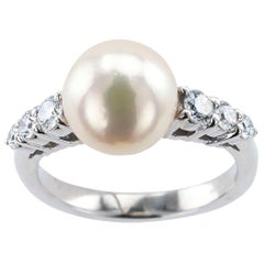 Mikimoto Cultured Pearl Diamond White Gold Ring