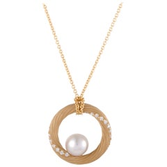 Mikimoto Diamond and Akoya Pearl Yellow Gold Circle Pendant Necklace