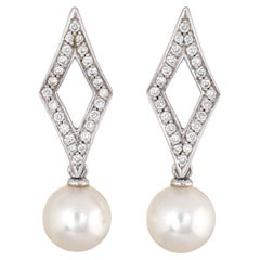 Mikimoto Diamond Cultured Akoya Pearl Earrings 18 Karat Gold Estate Triangle