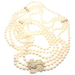 Mikimoto Diamond Flower Triple Strand Pearl Yellow Gold Necklace