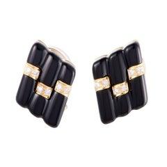 Mikimoto Diamond Onyx Earrings