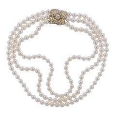Mikimoto Diamond Pearl Flower Necklace