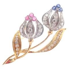 Mikimoto Diamond Sapphire Ruby Yellow and White Gold Flower Brooch Pin