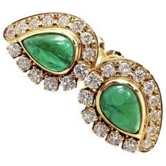 Mikimoto Diamond Teardrop Emerald Screw Back Yellow Gold Earrings