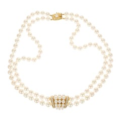 Mikimoto Double Strand Cultured Pearl Diamond Gold Necklace