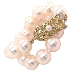 Mikimoto Estate Akoya Pearl Bracelet 18 Karat Yellow Gold Certified