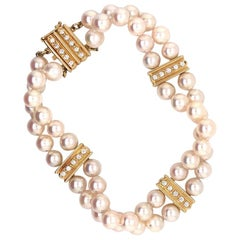 Mikimoto Estate Akoya Pearl Bracelet 18 Karat Yellow Gold Certified