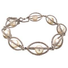 Mikimoto Estate Akoya Pearl Bracelet Sterling Silver