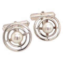 Mikimoto Estate Akoya Pearl Cufflinks Sterling Silver 7.1 Grams