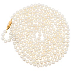 Mikimoto Estate Akoya Pearl Necklace with 18 Karat Yellow Gold Clasp