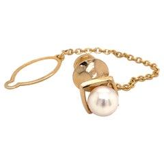 Mikimoto Estate Akoya Pearl Tie Pin for Men 14k Gold 3.41 Grams