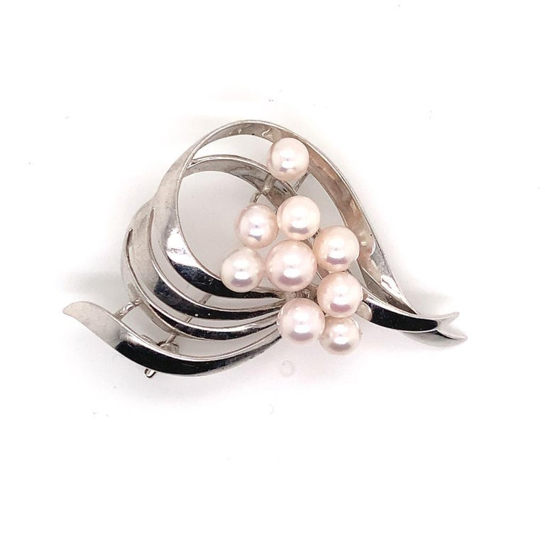 Mikimoto Estate Pin Brooch Sterling Silver 8 Gr For Sale 5