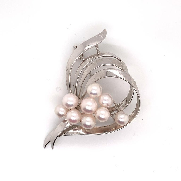 Round Cut Mikimoto Estate Pin Brooch Sterling Silver 8 Gr For Sale