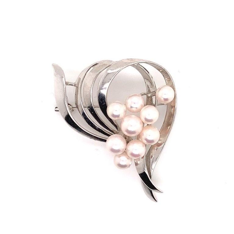 Mikimoto Estate Pin Brooch Sterling Silver 8 Gr For Sale 2