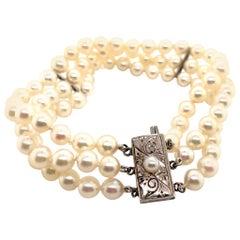 Mikimoto Estate Silver Akoya Pearl Bracelet Certified