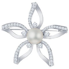 Mikimoto Flower Pendant with Akoya White Pearl and 1.55 Carat in Diamonds