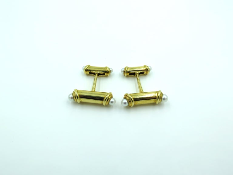 Women's or Men's Mikimoto Gold and Pearl Cufflinks For Sale