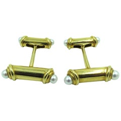 Mikimoto Gold and Pearl Cufflinks