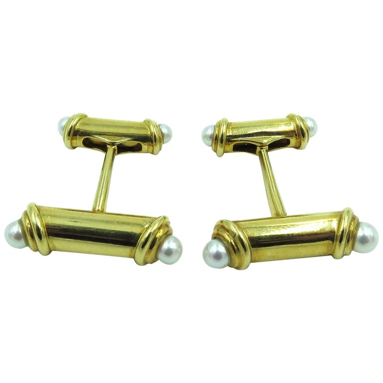 Mikimoto Gold and Pearl Cufflinks For Sale