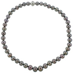 Mikimoto Gold Tahitian Pearl Diamond Necklace