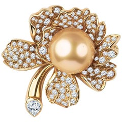 Mikimoto Golden Pearl Flower Brooch with Round Diamonds in Petals 2.26 Carat