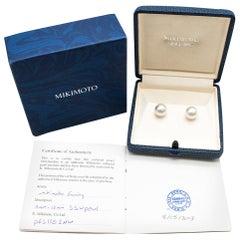 Mikimoto Large White South Sea Stud Earrings in 18 Karat White Gold