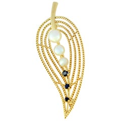 Mikimoto, Leaf Brooch with Freshwater Pearls and Blue Sapphires, 1990s