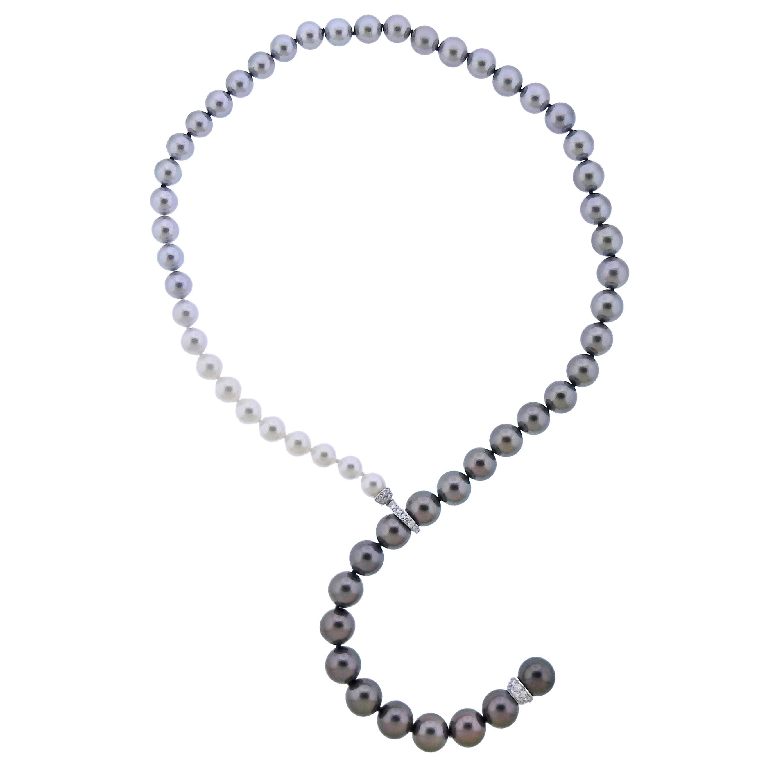 Mikimoto Multi-Color South Sea Pearl Gold Diamond Necklace