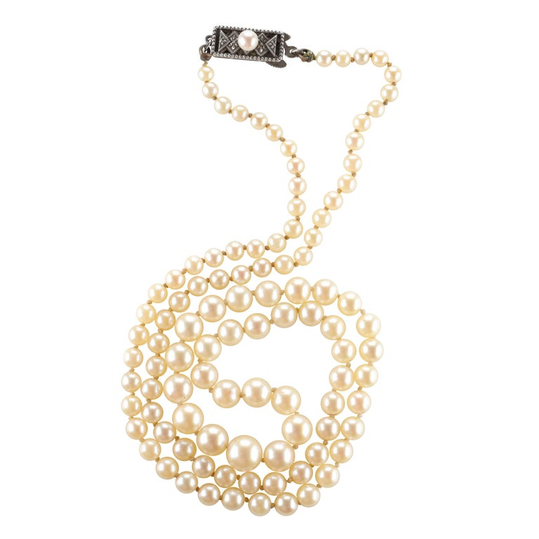 Mikimoto Original Strand of First Viable Cultured Pearls, circa 1920s For Sale