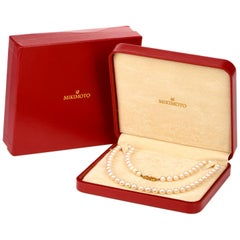 Mikimoto Pearl 18 Karat Gold Clasp Necklace